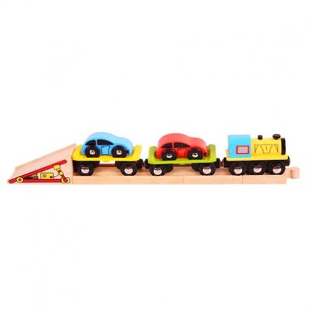 Big jigs autotrein 2 wagons met daarop 2 auto's