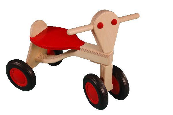 van Dijk loopfiets rood van berkenhout.