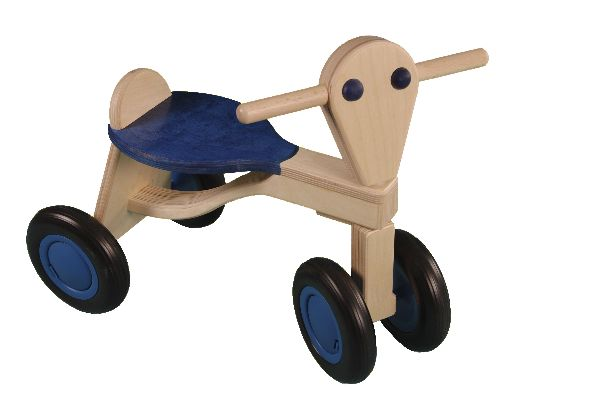 van Dijk loopfiets blauw van berkenhout.