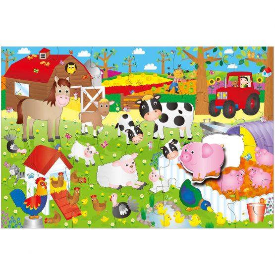 Galt, reusachtige vloerpuzzel, boerderij.
