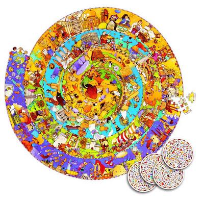 Djeco, ronde observatie puzzel historie 350 stukjes.-1224