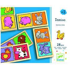 Djeco, houten domino met dierenafbeeldingen.
