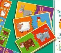 Djeco, houten domino maxi met dieren afbeeldingen.