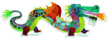 Djeco vloerpuzzel draak lengte 1 meter 38 !! -1232