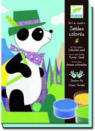 Djeco, schilderen met gekleurd zand.  Panda en zijn vrienden.