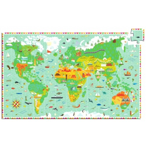 Djeco puzzel Reis rond de Wereld-1345