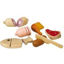 Plan toys vis en vlees-set , met verschillende soorten vlees en vis