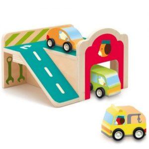 Djeco mini garage van hout inclusief 3 autootjes