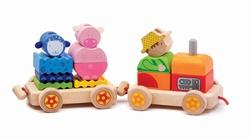 Djeco trekfiguur trein met boerderijdieren-0