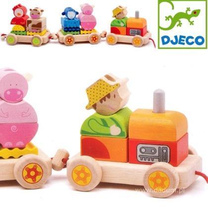 Djeco trekfiguur trein met boerderijdieren