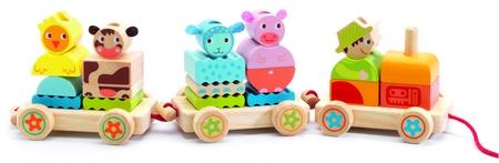 Djeco trekfiguur trein met boerderijdieren-1599