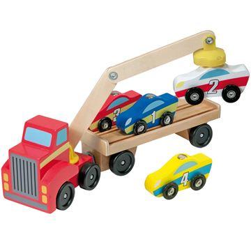Melissa & Doug, truck met aanhanger met 4 auto's inclusief magneet lift