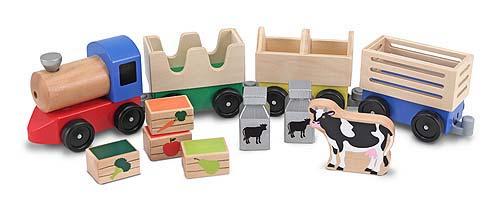 Melissa & Doug, trein met 3 wagons met boerderij dieren en producten.