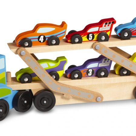Melissa & Doug, mega truck met trailer waarop 6 racewagens staan.