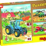 Haba, 3 legpuzzels landbouw machines.