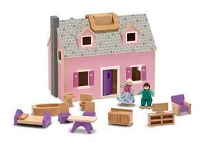 Melissa & Doug, Poppenhuis koffermodel inclusief meubels en popjes