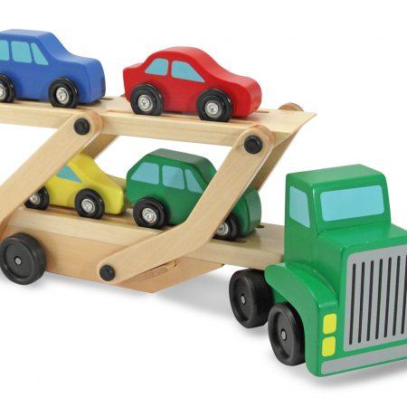 Melissa & Doug, truck met aanhanger met 4 auto's