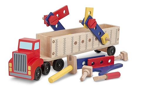 Melissa & Doug, mega truck met trailer inclusief constructie materialen