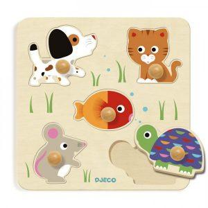 Djeco houten knoppuzzel  dieren