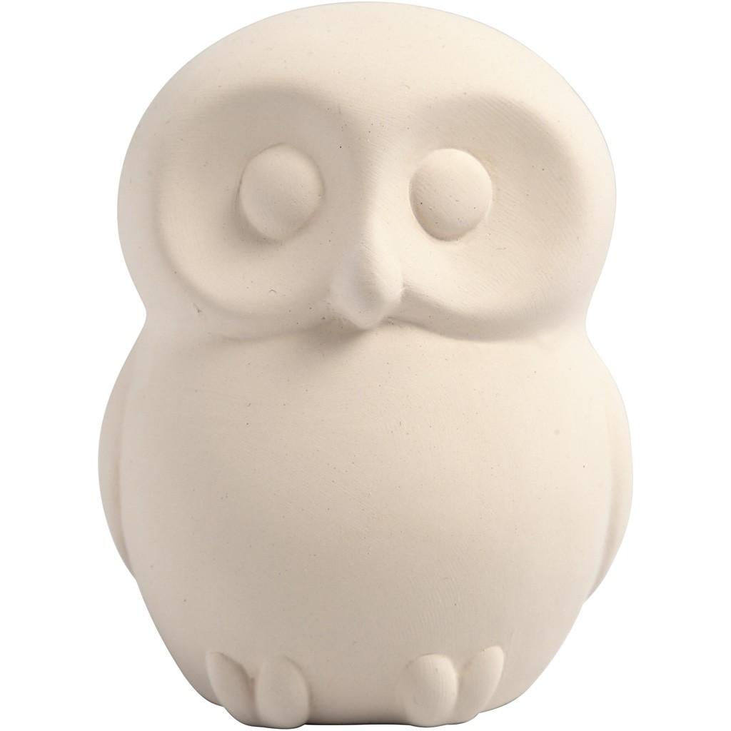 Spaarpot uil van wit terracotta 10 cm te decoreren met Foam Clay