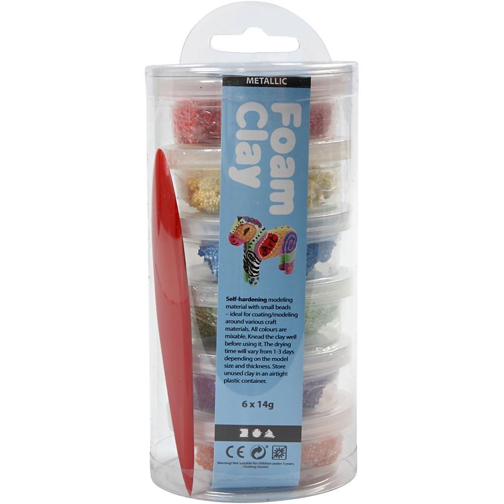 Foam Clay® - Assortiment, kleuren assorti, metallic, 6x14gr-2299