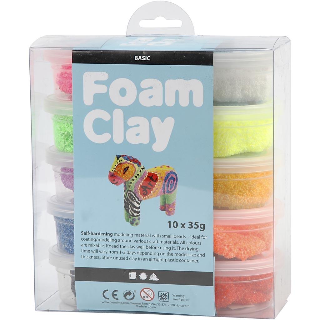 Foam Clay® - Assortiment, kleuren assorti, basis, 10x35gr-2293