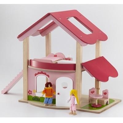 Poppenhuis hout roze wonderworld