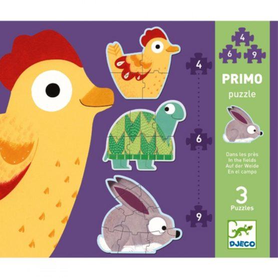 Djeco 3 puzzels in de wei. 4-6-9 stukjes