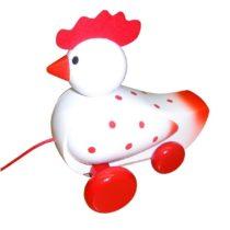 Houten trekdier, witte kip met rode stip