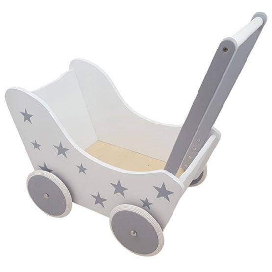Houten poppenwagen wit + zilver sterren